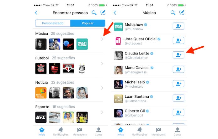 Encontrando e seguindo um perfil de pessoa famosa no Twitter pelo iPhone (Foto: Reprodução/Marvin Costa)
