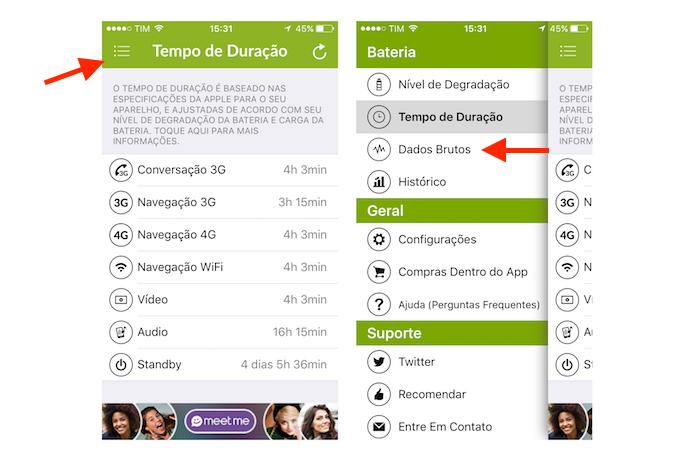 Acessando os dados brutos da bateria do iPhone com o Battery Life (Foto: Reprodução/Marvin Costa)