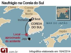 mapa naufrágio coreia do sul (Foto: Arte/G1)