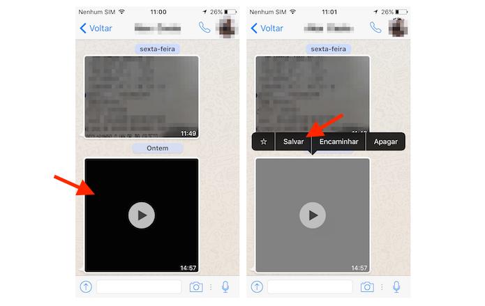 Baixando um vídeo do WhatsApp pelo aplicativo para iPhone (Foto: Reprodução/Marvin Costa)