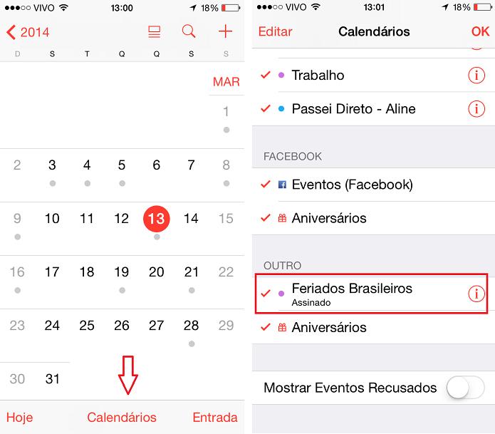 Como desabilitar a marcação de feriados automáticos no calendário do iOS (Foto: Aline Jesus/Reprodução)