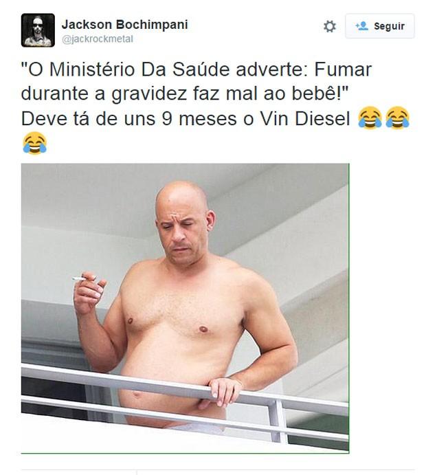 Fã faz piada com forma física de Vin Diesel: 'Grávido' (Foto: Reprodução/Twitter/jacksonrockmetal)
