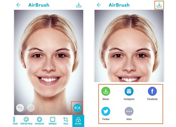 Salve o resultado no celular ou compartilhe em redes sociais com o app Airbrush (Foto: Reprodução/Barbara Mannara)
