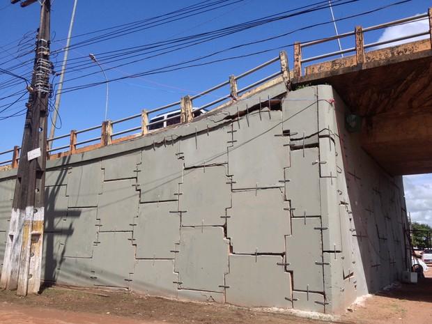 ponte, Sérgio Arruda, obra, reforma, reparo, grampeamento, metal, Macapá, Amapá (Foto: Jéssica Alves/G1)