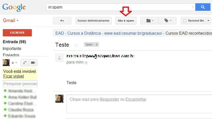 Botão para desmarcar um e-mail como spam no Gmail  (Foto: Reprodução/ Marcela Vaz)
