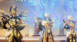 Os cavaleiros de ouro devem proteger Atena e são muito poderosos (Foto: Divulgação/Diamond Films)