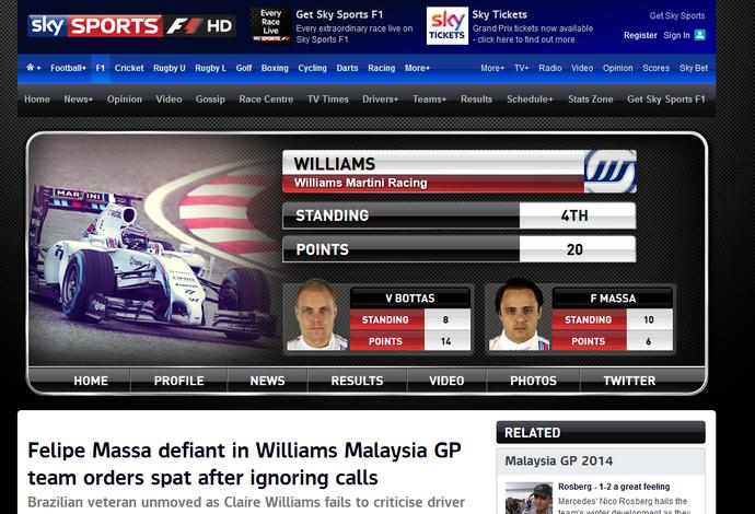 Sky Sports, Felipe Massa, Williams, Fórmula 1, frame (Foto: Reprodução)