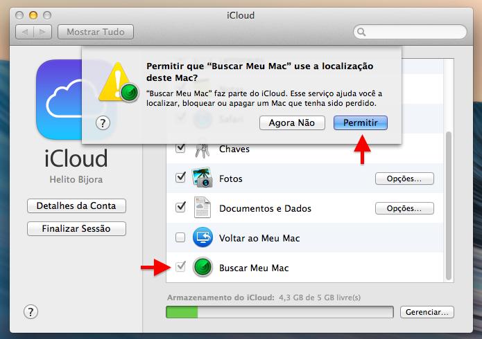 Ativando o recurso Buscar Meu Mac (Foto: Reprodução/Helito Bijora)