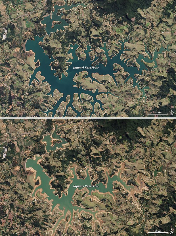 Imagem de cima mostra represa de Jaguari em 16 de agosto de 2013 e imagem de baixo mostra mesma represa em 3 de agosto de 2014 (Foto: NASA Earth Observatory image by Jesse Allen, using Landsat data from the U.S. Geological Survey.)