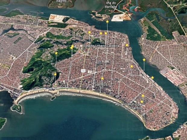 Estrelas ilustram pontos de radar em Santos (Foto: Reprodução/Google Earth)