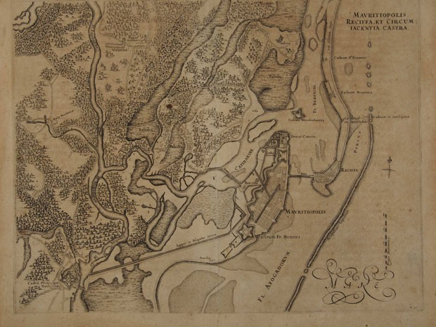 Mapa mostra o Recife no período de dominação neerlandesa (Foto: Acervo Fundação Joaquim Nabuco)