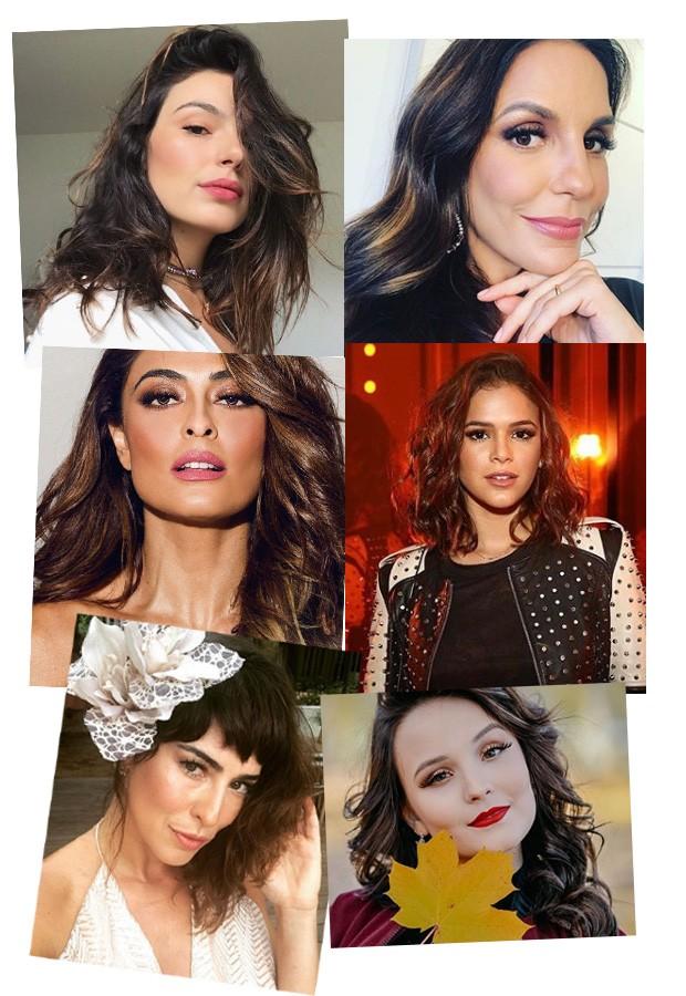 Em ordem cronológica: Isis Valverde, Ivete Sangalo, Bruna Marquezine, Juliana Paes, Fê Paes Leme e Larissa Manoela (Foto: Reprodução / Instagram)