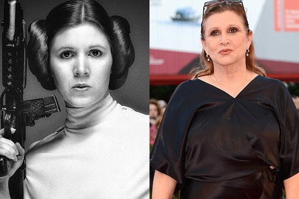 Carrie Fisher tinha apenas 20 anos quando interpretou a Princesa Leia pela primeira vez, no filme 'Guerra nas Estrelas'. A exposição rendida pela franquia fez com que Carrie ganhasse papeis em várias outras produções, apesar de nenhuma delas ser de tanto sucesso quanto 'Guerra nas Estrelas'. Desde 2005 ela faz participações na animação 'Family Guy' e no ano que vem ela volta às telonas como a Princesa Leia em 'Star Wars: Episódio VII'. (Foto: Getty Images)