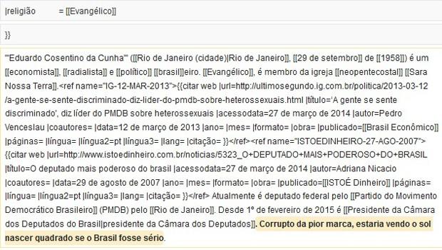 Trecho em amarelo mostra o que havia sido incluído no perfil de Cunha por um usuário que utilizou computador da Conab (Foto: Reprodução/Wikipédia)