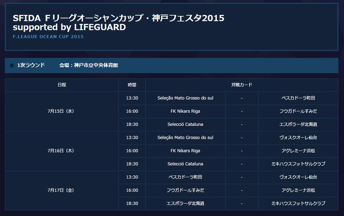Tabela de jogos da F.League Ocean Cup (Foto: Reprodução)
