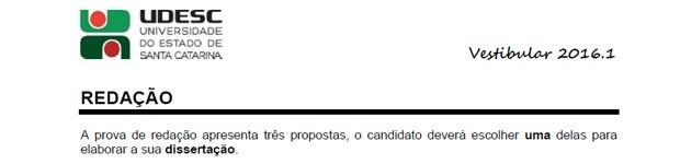 Trecho da prova de redação da Udesc (Foto: Reprodução)