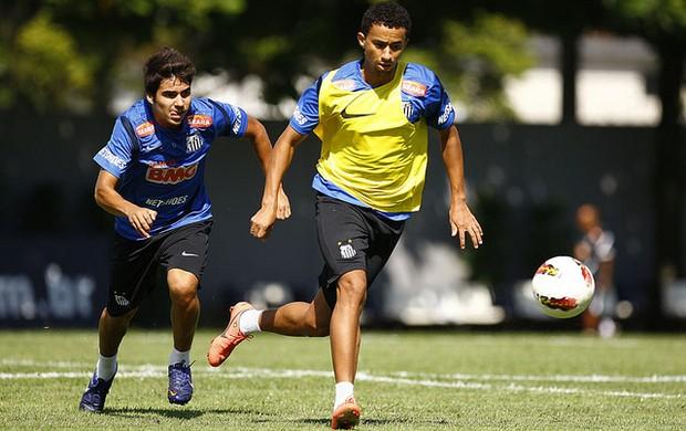 Crystian e Tiago Alves em treino do Santos (Foto: Ricardo Saibun / Divulgação Santos FC)