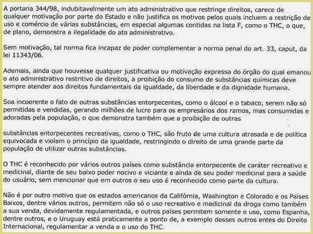 Trecho da sentença do juiz Frederico Maciel que absolve acusado de entrar com 52 porções de maconha no Complexo Penitenciário da Papuda, no DF (Foto: Reprodução)
