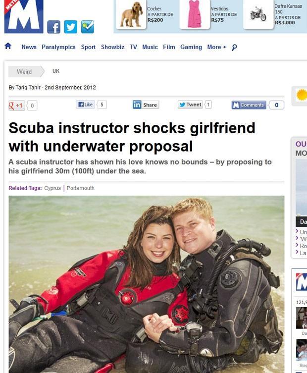 Ollie Meaden surpreendeu sua namorada, Hayley Short, ao pedi-la em casamento durante mergulho. (Foto: Reprodução/Metro)