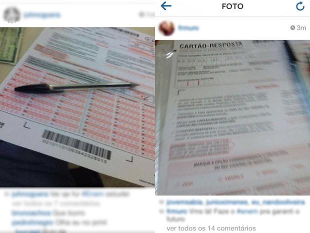 Fotos de cartões de resposta do Enem foram postadas no início da tarde deste sábado (Foto: Reprodução/Instagram )