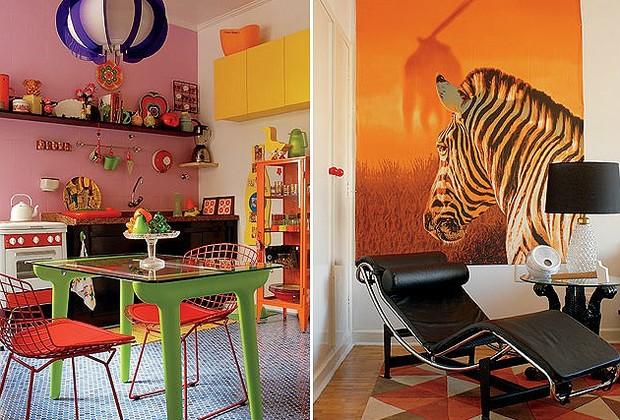 A cozinha original era bege. A combinação multicolorida nasceu após vários testes de tinta. A parede da bancada recebeu esmalte sintético rosa acetinado da Suvinil (C 101) e os armários laminados, amarelo-flúor (R 039). O fogão de ágata Continental funcio (Foto: Casa e Jardim)