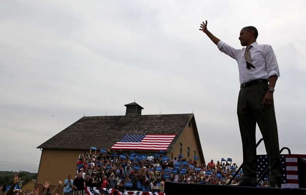 Obama durante evento político no sábado (1º) em  Urbandale, Iowa (Foto: Larry Downing / Reuters)