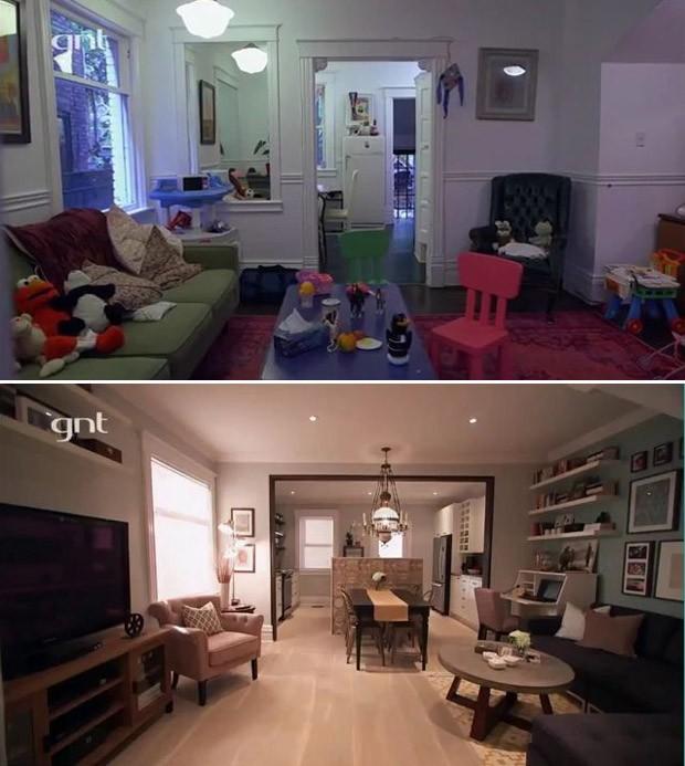 Antes e depois cozinha (Foto: Reproduo/TV)