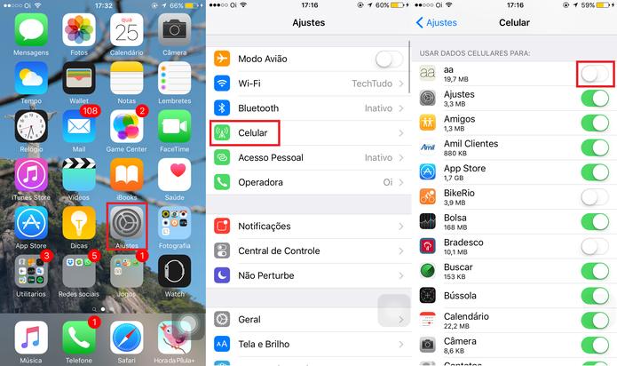 É possível gerenciar quais aplicativos utilizarão a rede móvel para economizar dados (Foto: Reprodução)