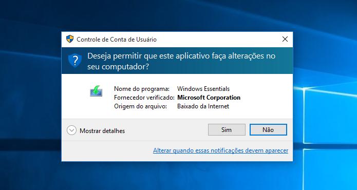 Mensagem do UAC é exibida ao executar o instalador (Foto: Reprodução/Helito Bijora)