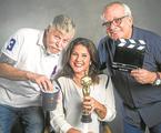 Miguel Falabella, Christiane Pelajo e Artur Xexéo  | TV Globo / João Miguel Junior