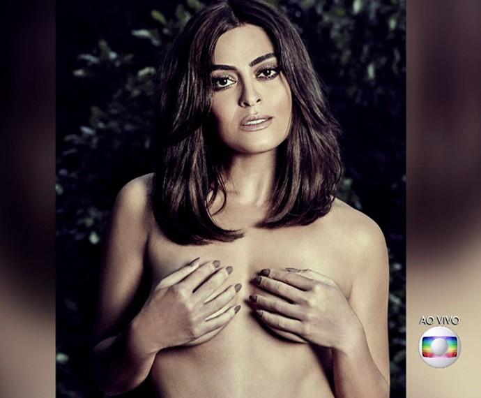 Juliana Paes posa de topless para campanha do Outubro Rosa (Foto: Maurício Nahas)