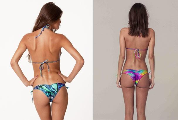 À esquerda, look Vix (R$ 285) e, à direita, biquíni Triya (R$ 255) (Foto: Divulgação)