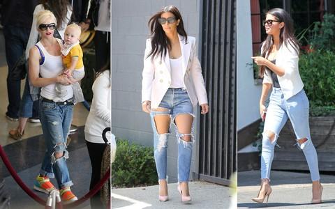 Jeans rasgado ganha status fashion no guarda-roupa das famosas
