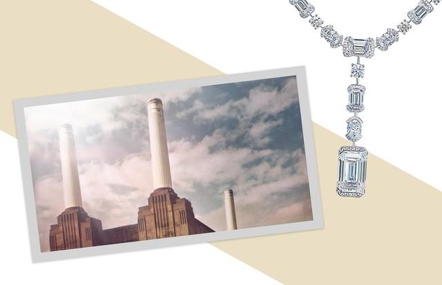 A usina termelétrica de Battersea e, à direita, o colar da De Beers inspirado na construção (Foto: Shutterstock, Divulgação e Reprodução Instagram)