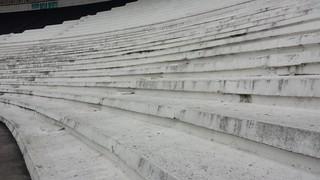Cimento de quase 90 anos: arquibancadas feitas para público ver o jogo de pé (Foto: Raphael Zarko)