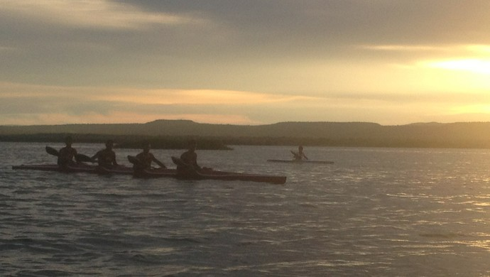 Paisagem do lago em Porto Nacional é inspiração para canoístas do Tocantins (Foto: Vilma Nascimento/GLOBOESPORTE.COM)