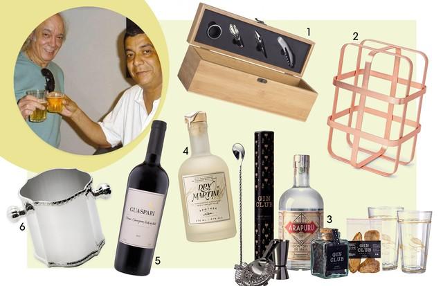 Pai boêmio: 1. Oppa (R$ 189,99) 2. Porta vinhos MinD (R$ 229) 3. Kit Gin Arapuru (R$ 280) 4. Dry Martini Apothek (R$ 90) 5. Vista da Mata (R$ 160) 6. Balde para gelo Tânia Bulhões (R$ 2.450,00) (Foto: Reprodução)
