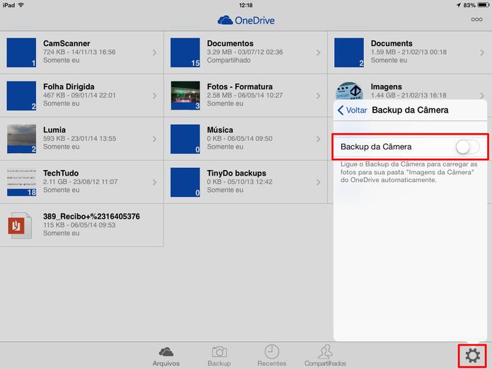OneDrive para iOS, Android e Windows Phone traz ainda a opção de fazer backup automático de fotos da câmera (Foto: Reprodução/Elson de Souza)