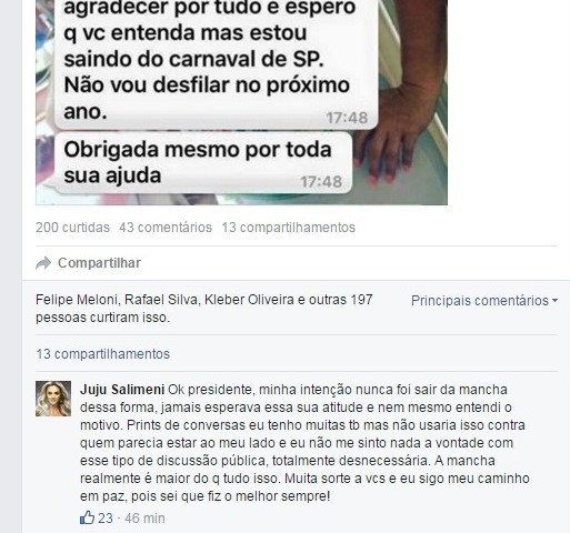 JuJU Salimeni encerra discussão com Paulo nas redes sociais (Foto: Reprodução/Facebook)