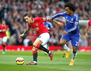 Di Maria e Willian, Manchester United x Chelsea (Foto: Reuters)