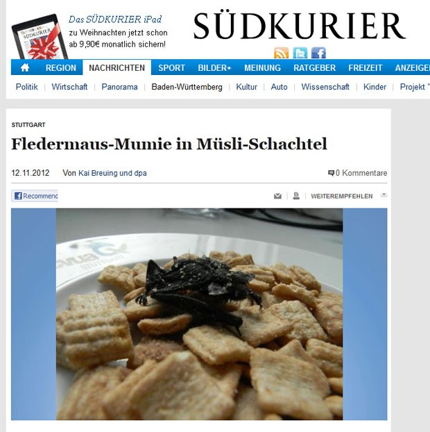 Alemão encontrou morcego morto em caixa de cereal. (Foto: Reprodução)
