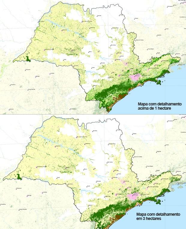 Mapa mais recente (acima) revela áreas em verde claro de Mata Atlântica (Foto: Divulgação/SOS Mata Atlântica)