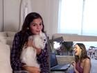 Bruna Marquezine cai na risada com vídeo da irmã Luana com cachorrinha