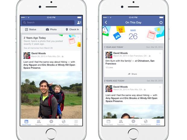 Nova função do Facebook permite relembrar postagens de uma mesma data em anos passados (Foto: Divulgação/Facebook)