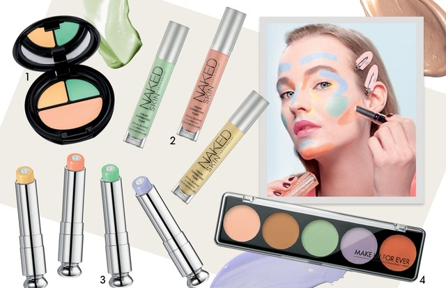 1.Paleta Impeccable Cover, R$ 53, Eudora 2. Corretivos Naked Skin Color Correcting, R$ 169, Urban Decay 3. Corretivos Fix It Colour, US$ 36, Dior 4. Paleta de corretivos Camouflage Cream, R$ 185, Make Up For Ever (Foto: Giampaolo Sgura/Arquivo Vogue, Condé Nast Digital Archive e Divulgação)