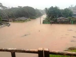 Rio está três metros acima do normal, em Jaru (Foto: Reprodução/Whatsapp)