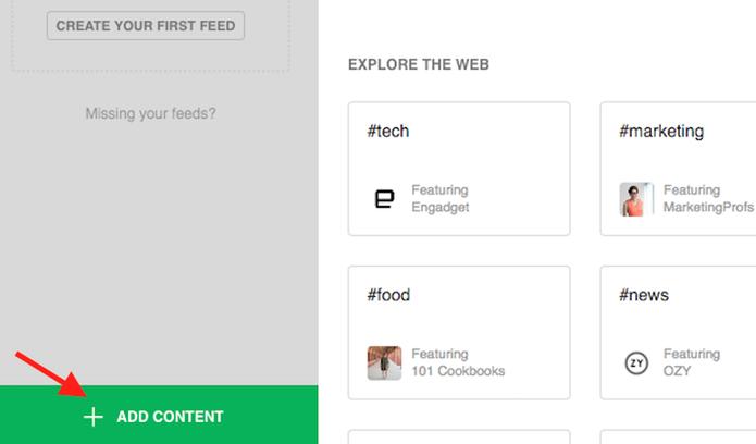 Adicione um conteúdo no serviço online Feedly (Foto: Reprodução/Marvin Costa)