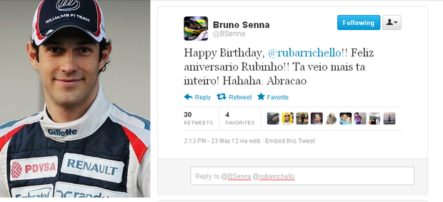 Bruno Senna brinca com Rubens Barrichello (Foto: Reprodu&#231;&#227;o/Twitter)