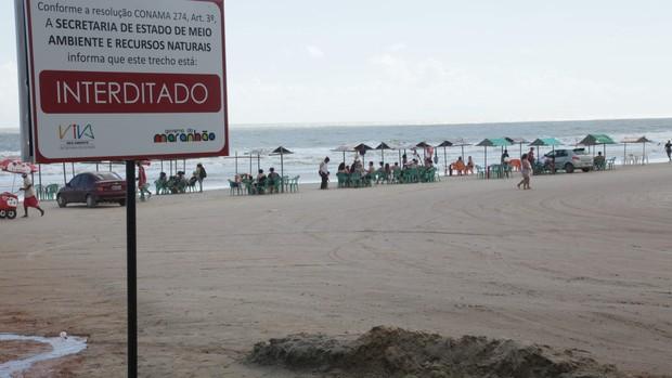 Praias de São Luís foram interditas devido a contaminação (Foto: De Jesus/ O Estado)