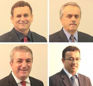 Marcelo da Intendência (PP), Dalmo Meneses (PSD), Dinho da Rosa (PMDB) e Roberto Katumi (PSD) foram reeleitos (Foto: Câmara de Vereadores de Florianópolis/Divulgação)